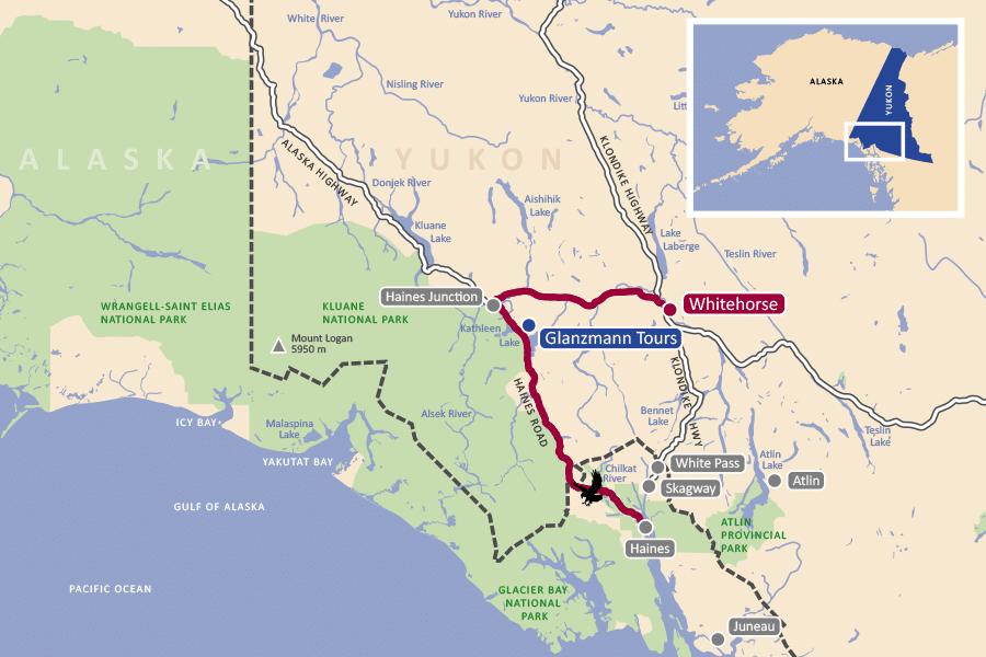 Karte der Weisskopf-Seeadler Fotoreise Yukon/Alaska