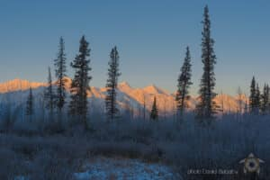 Winter tours at Kluane National Park mountains at Haines Junction Yukon