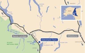 Lageplan Glanzmann Tours, Yukon, Kanada
