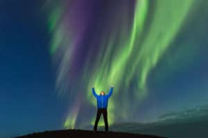 Begeisterung und Freude über Nordlichter am Himmel. Nordlandreisen in Kanada mit Fotograf Beat Glanzmann auf Reisen