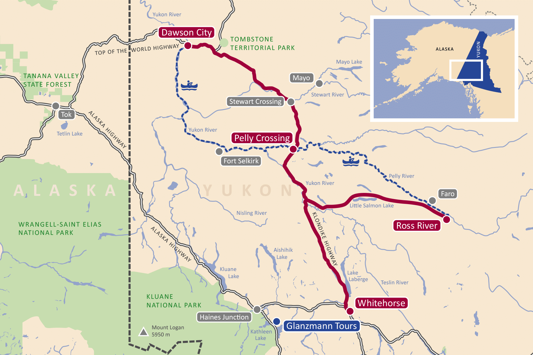Karte der Pelly River Kanutour im Yukon