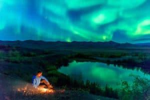 Nordlichter fotografieren Aurora Borealis unter Anleitung von Fotograf am Polarkreis auf Indian Summer Reisen