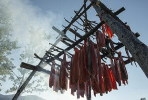 Geräucherter wilder Lachs auf Trockengestell über dem Rauch Feuer Alaska Nordreisen Abenteuer in der Wildnis erleben