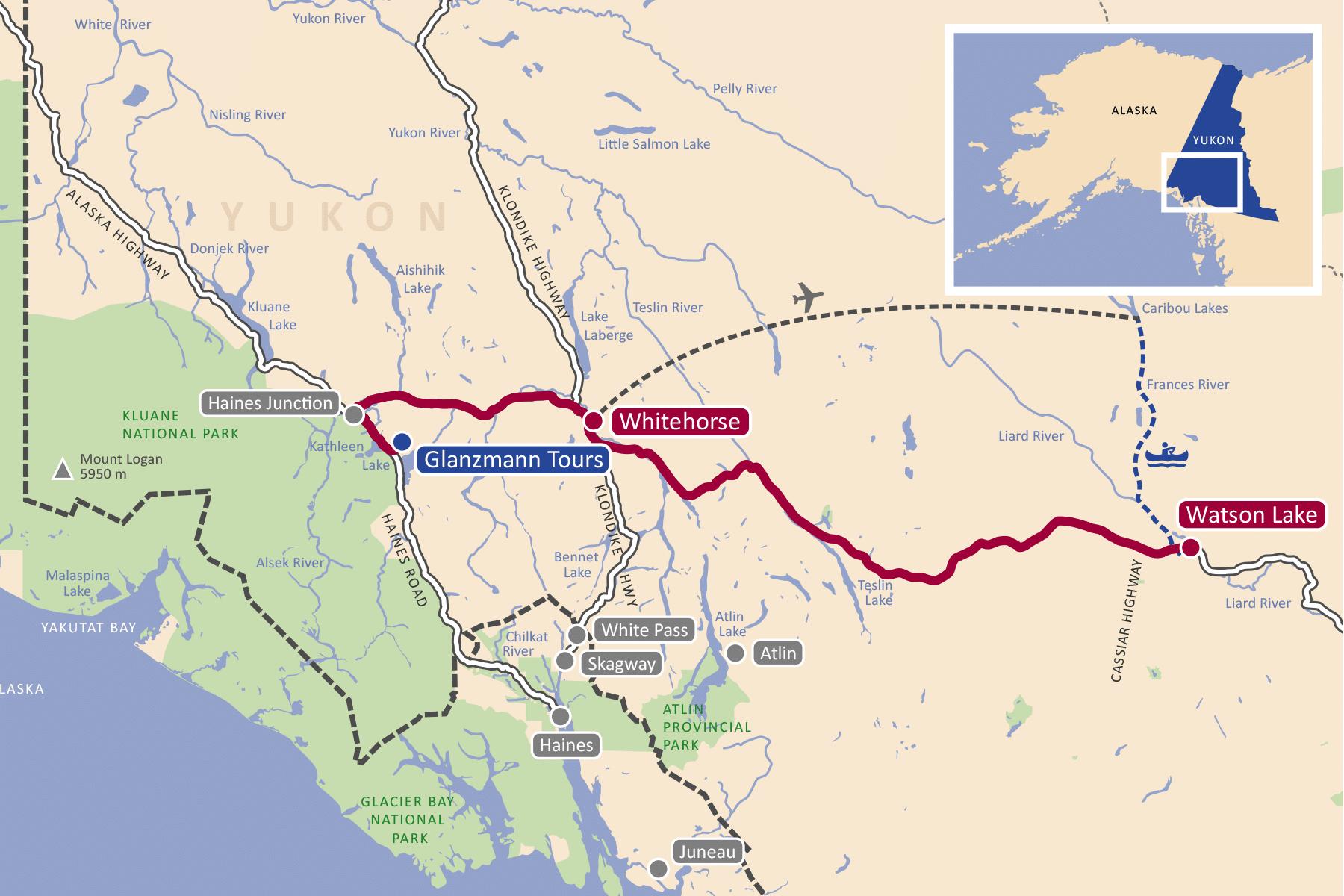 Karte der Liard River Kanutour Yukon
